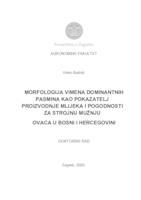 Morfologija vimena dominantnih pasmina kao pokazatelj proizvodnje mlijeka i pogodnosti za strojnu mužnju ovaca u Bosni i Hercegovini